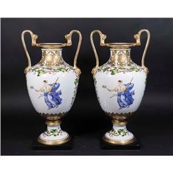 Pair Floral-Decorated Porcelain Vases