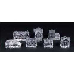 Set 7 Waterford Crystal Houses