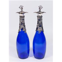 Pair Blue Decanters