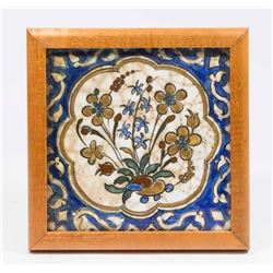 Persian Framed Ceramic Plaque with Flowers