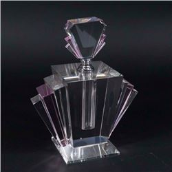 Art Deco Style Pink & Clear Glass Perfume Bottle