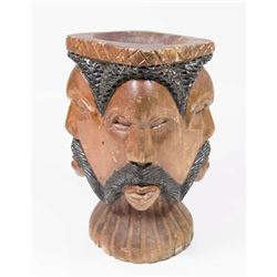 African Wooden & Painted 4-Face Vase