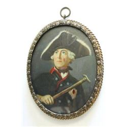 :18th C. Hand Painted Miniature of Frederick II