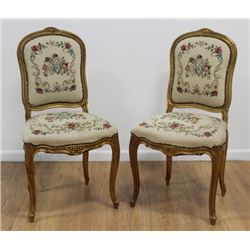 Pair Louis XV Style French Needlepoint Side Chairs