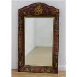 :Red Chinoiserie Tole Mirror