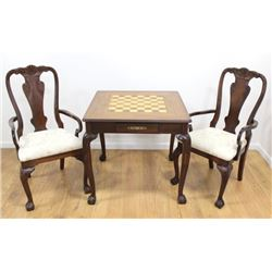 English Style Card Table with 2 Chairs