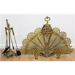 French Gilt Metal Firescreen & Set Andirons