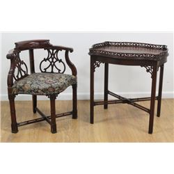 Mahogany Corner Chair & Piecrust Table