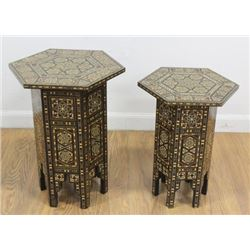2 Syrian Inlaid Taboret Side Tables
