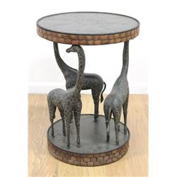 Side Table with Carved Full Figure Giraffes