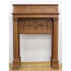 Oak Mantel with Carved Columns