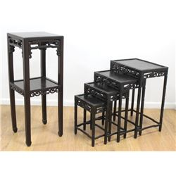 Chinese 2-Tier Pedestal with Nest of 4 Tables