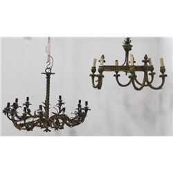 :2 French Bronze Chandeliers