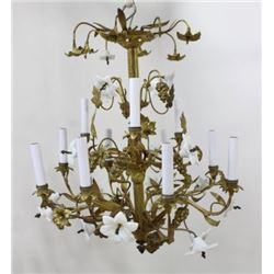 :Louis XV Ormolu & Milk Glass 12-Light Chandelier