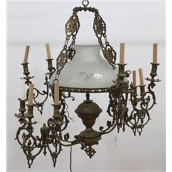 :Victorian Cast Brass 8-Arm Chandelier