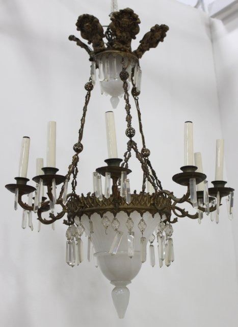 French repousse brass milk glass chandelier image 1 french repousse brass milk glass chandelier aloadofball Choice Image