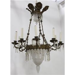 French Repousse Brass & Milk Glass Chandelier