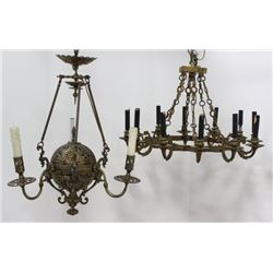 2 Continental Gilt Brass Chandeliers
