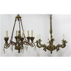 2 Continental Brass & Bronze 6-Light Chandeliers