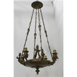 Early 20th C. Bronze Figural 4-Light Chandelier