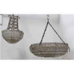 2 Faceted Glass Basket Chandeliers