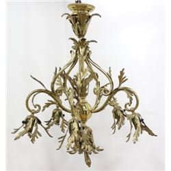 Victorian Gilt Brass 5-Light Chandelier