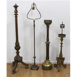 3 Brass & Giltwood Torcheres & 1 Floor Lamp