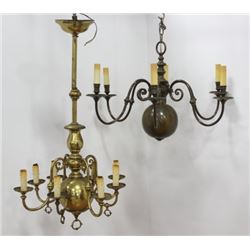2 Dutch Baroque Style Brass Chandeliers