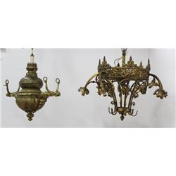2 Victorian Gilt Brass & Bronze Chandeliers