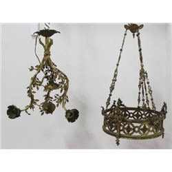 2 French Bronze & Brass Chandeliers