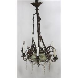 Victorian Brass & Ceramic 9-Light Chandelier