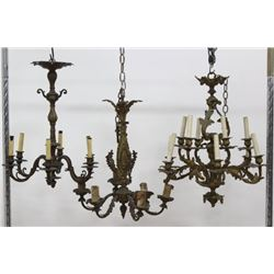 3 Louis XV Style Gilt Bronze & Brass Chandeliers