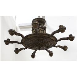 Art Deco Figural Cast Bronze & Brass Chandelier