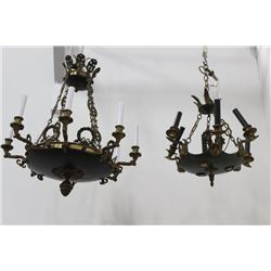 2 Empire Style Gilt Metal & Tole Chandeliers