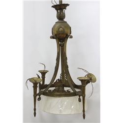 Empire Style Gilt Brass 5-Light Chandelier