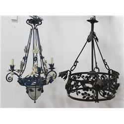 2 Wrought Iron Foliate Chandeliers