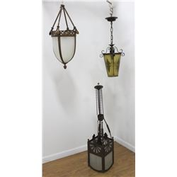 3 Victorian Brass & Glass Lanterns