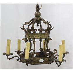 Victorian Cast Brass 6-Light Chandelier