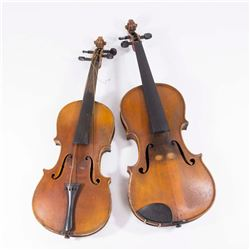2 Unsigned Violins with Coffin Cases