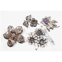 4 Sterling Silver Oversized Floral Brooches