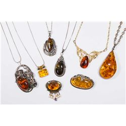 Tray Lot Sterling Silver & Baltic Amber Jewelry