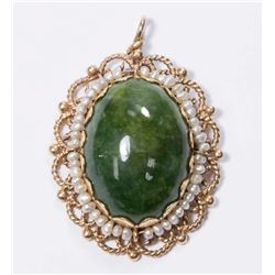 14K Gold, Spinach Jade, & Seed Pearl Pendant