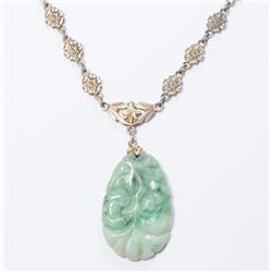 Carved Jade Pendant on Silver Floral Chain