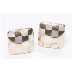 Pair 14K Yellow Gold & Mother of Pearl Earrings