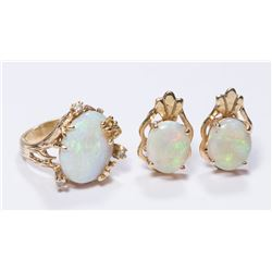 14K Yellow Gold & Opal Ring & Earrings