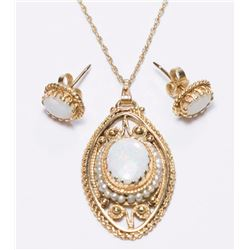3-Piece 14K Gold & Opal Set