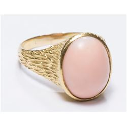 14K Yellow Gold Ring with Angel Skin Coral Stone