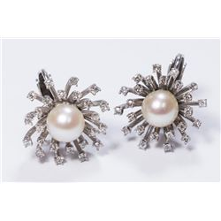 Pair 14K Gold, Pearl, & Diamond Spray Earrings