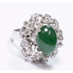 14K White Gold, Diamond, & Jade Ladies Ring