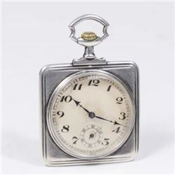 :Square Silver Pocket Watch in Etched Case